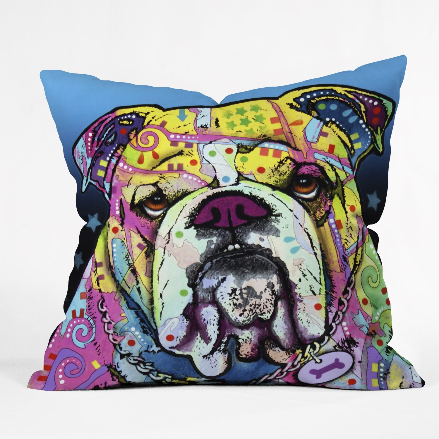 DENY Designs Dean Russo The Bulldog Throw Pillow, 18 by 18-Inch