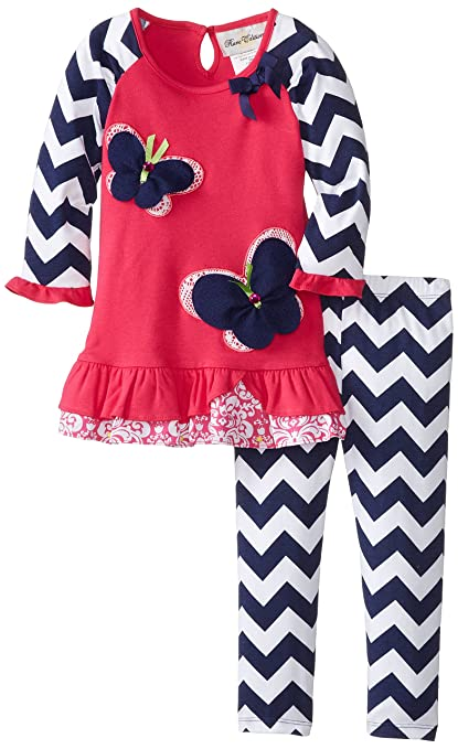 Rare Editions Little Girls' Butterfly Applique Legging Pant Set