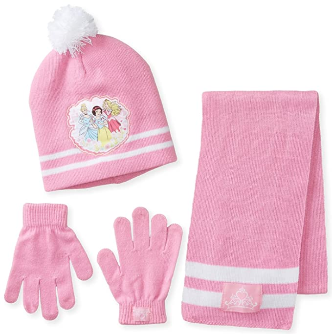 Berkshire Big Girls' 3 Piece Disney Princess Snow White Aurora Cinderella Pom Beanie Glove and Scarf Set, Multi, One Size