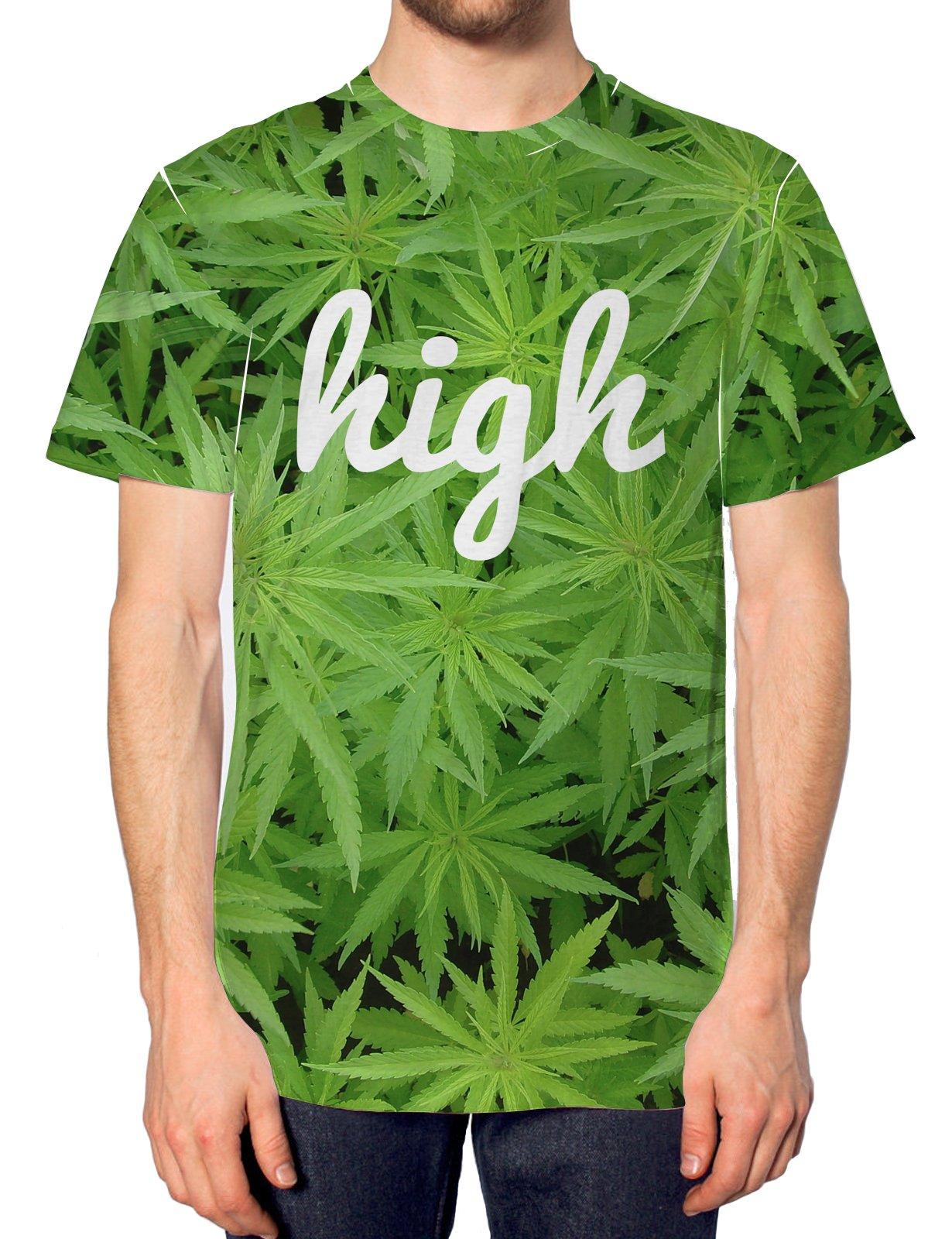 Inct Men's High Cannabis All Over Print Marijuana Weed Drugs T-Shirt