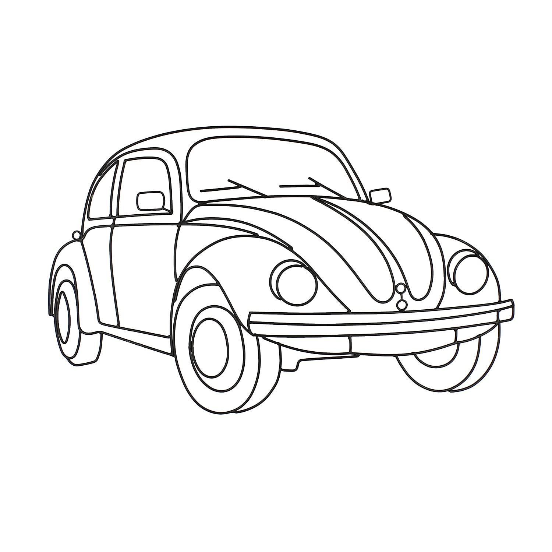 Large Metal Metal Wire Wall Frame Art Vw Beetle Bug Car