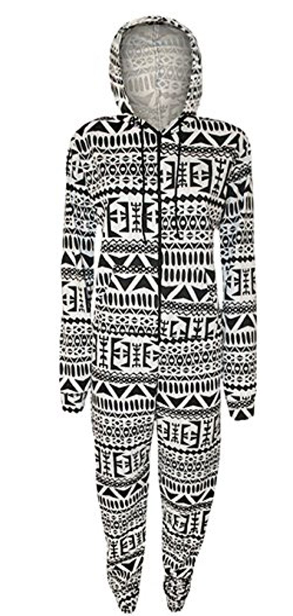 Style Fashion-women Tribal Aztec Print Playsuit Jumpsuit Long Hooded Onesie