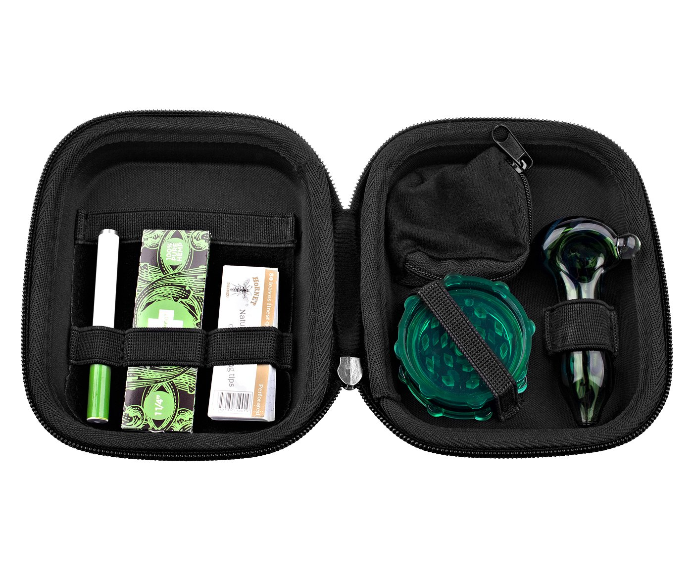 The Happy Kit - All in One Smoking Pouch /Case for Tobacco Smoker - Includes Herb Grinder, Rolling Paper+filter, Pipes.