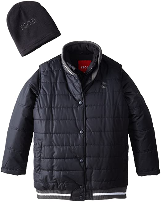IZOD Big Boys' Puffer Vest and Dual Coat Systems Jacket with Hat, Navy, 14/16