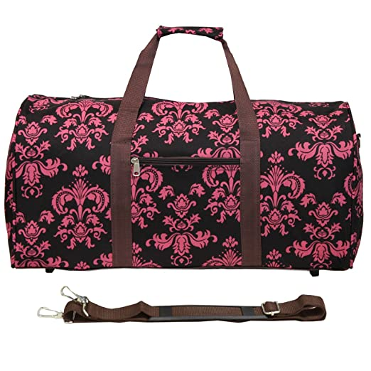 World Traveler 22 Inch Duffle Bag, Brown Pink Damask, One Size