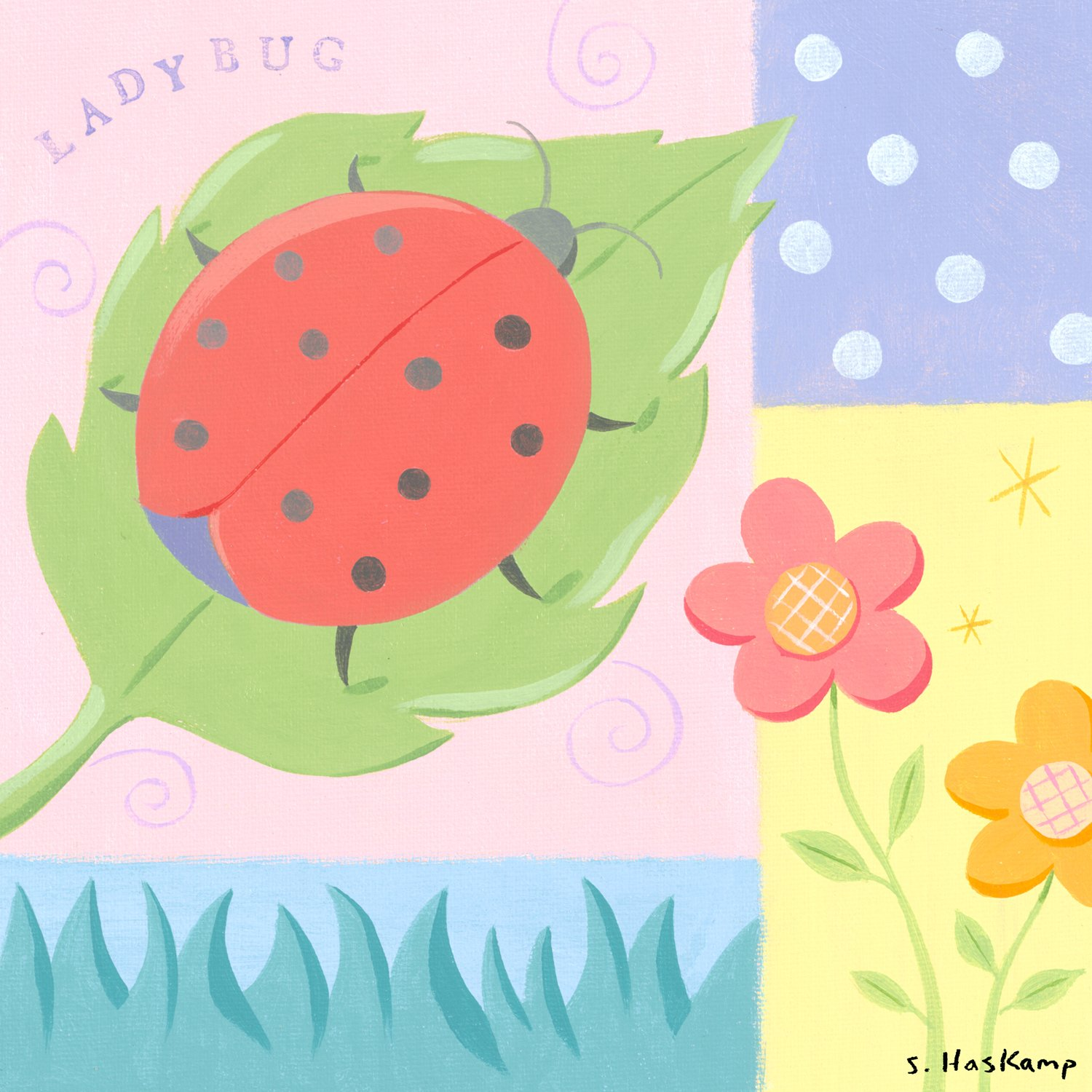 Oopsy daisy Ladybug Polkadot Stretched Canvas