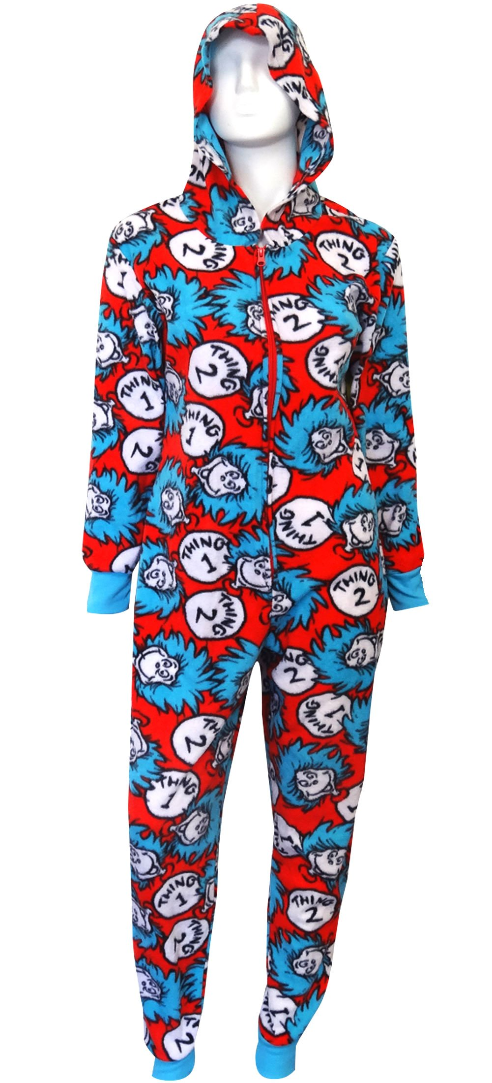 Dr Seuss Thing One & Thing Two Hooded Onesie Pajama for women