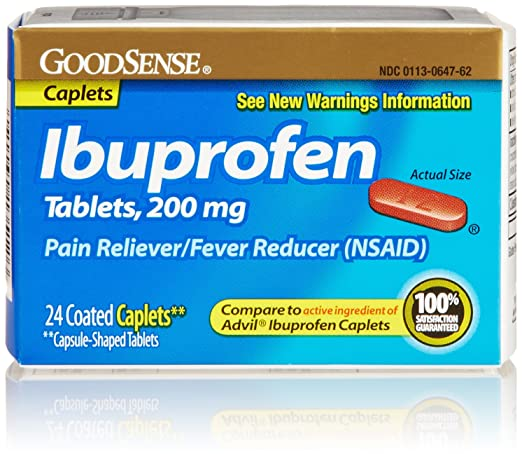 GoodSense Ibuprofen Pain Reliever/Fever Reducer, 200 mg Caplets, 24 Count