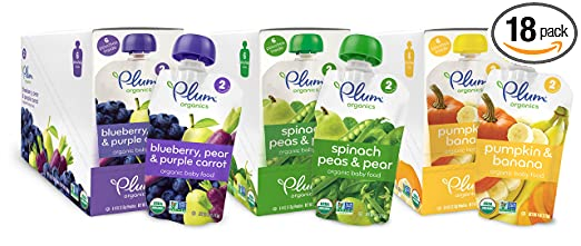 Plum Organics Second Blends Variety Pack, 4 Ounce (Pack of 18)