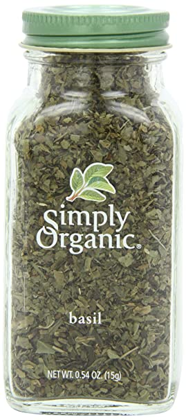 Simply Organic Basil Certified Organic, 0.54-Ounce Container