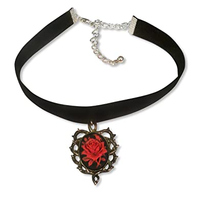 Black Velvet Choker with Red Rose Cameo Surrounded By Thorns Vampire Jewelry