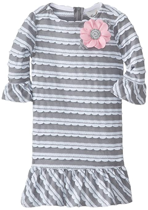 Rare Editions Little Girls' Textured Knit Dress with Scallops, Grey/White, 6X