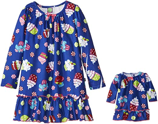 Dollie & Me Big Girls' Cupcake Pepperment Nightgown, Blue/Multi, 10