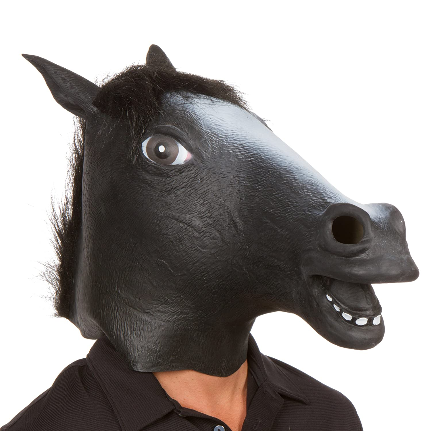 deep black horse mask