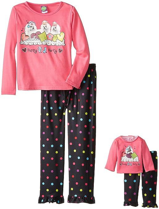 Dollie & Me Big Girls' Puppy Party Pajama Pant Set, Pink/Black, 12