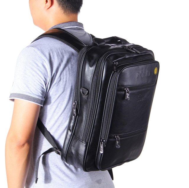 VIDENG POLO® Classic Vintage Genuine Leather RFID Blocking Secure Cross body Briefcase Business Laptop Messenger Sling Shoulder Bag
