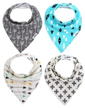 Matimati Baby Bandana Drool Bibs, Unisex 4-Pack Absorbent Cotton, Cute Baby Gift for Boys & Girls (Arrows & Triangles Set)