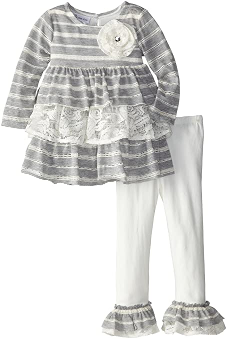 Bonnie Jean Little Girls' Crochet To Heather Stripe Tiered Legging Set, Ivory, 2T