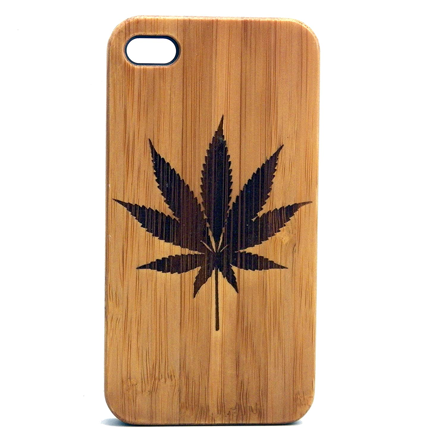 Marijuana Leaf iPhone 6 Case. Eco-Friendly Bamboo Wood Cover. 420 Pot Weed MJ. Legalize It. Cannabis Smoke Get High.