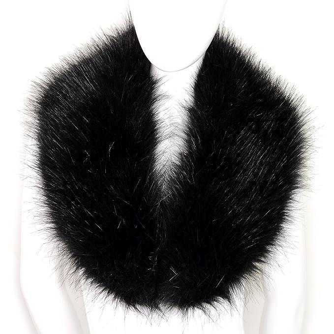 Futrzane Women's Faux Fur Neck Scarf Wrap One Size Black