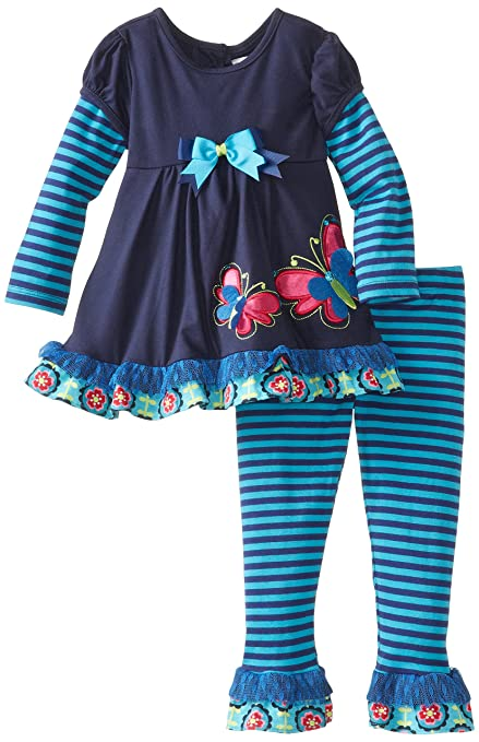 Rare Editions Little Girls' Butterfly Applique Stripe Set