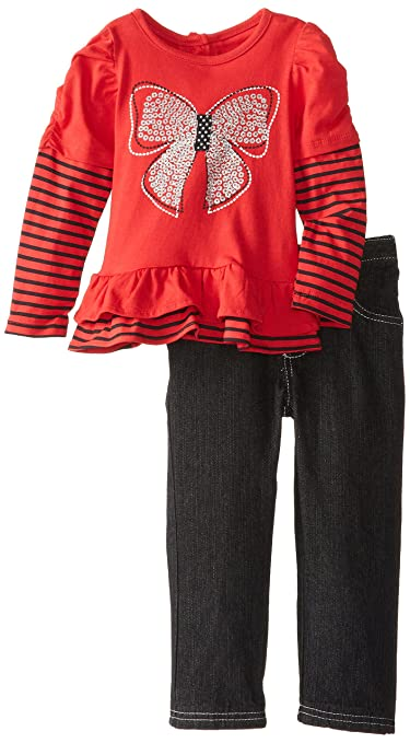 Young Hearts Little Girls' 2 Piece Bow Long Sleeve Pant Set, Chinese Red, 2T
