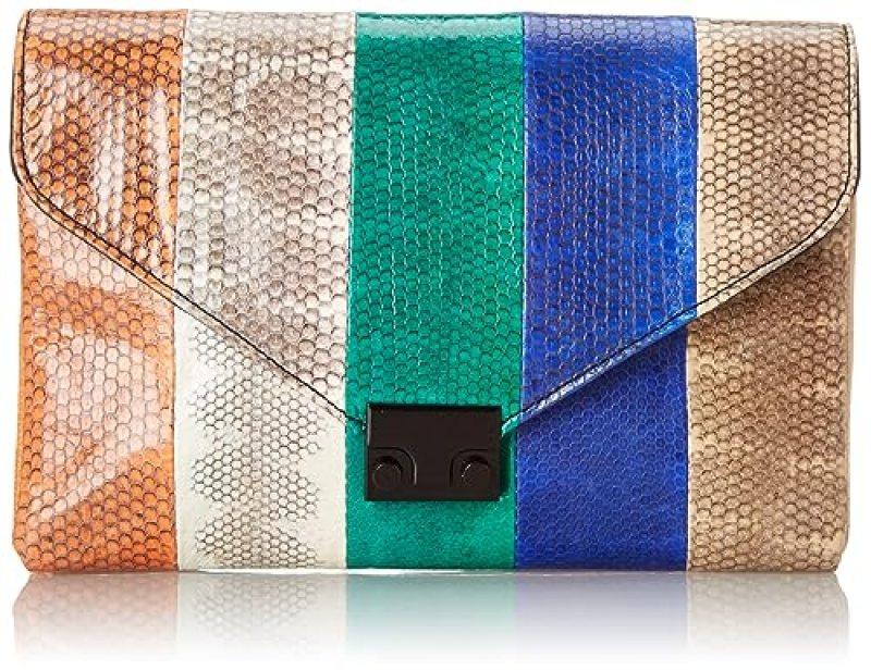 Loeffler Randall Color-Blocked Snake Clutch (Blue/Natural)