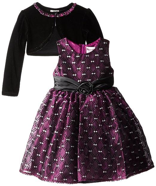 Nannette Little Girls' Taffeta Dress with Velvet Shrug, Plum Power, 6X