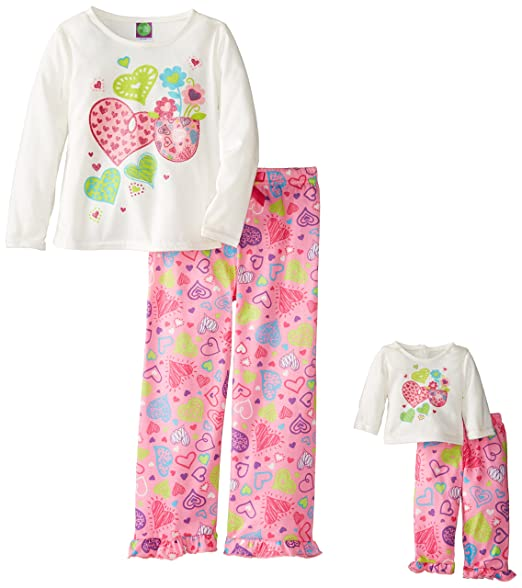 Dollie & Me Little Girls'  Hearts Screenprint Pajama Pant Set, Ivory/Multi, 4