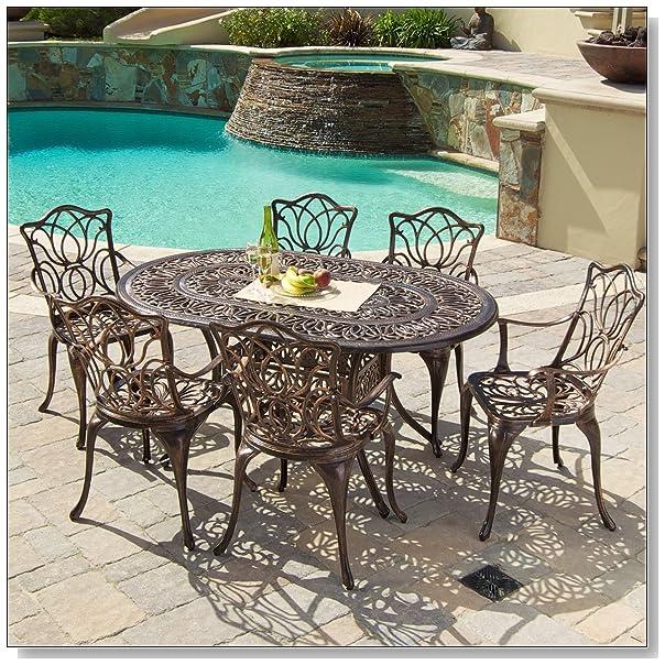 Nice Gardena Cast Aluminum Outdoor Dining Set Set of