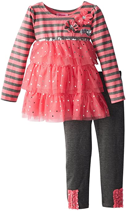 Young Hearts Little Girls' Tiered Top with Knit Pant, Coral, 5