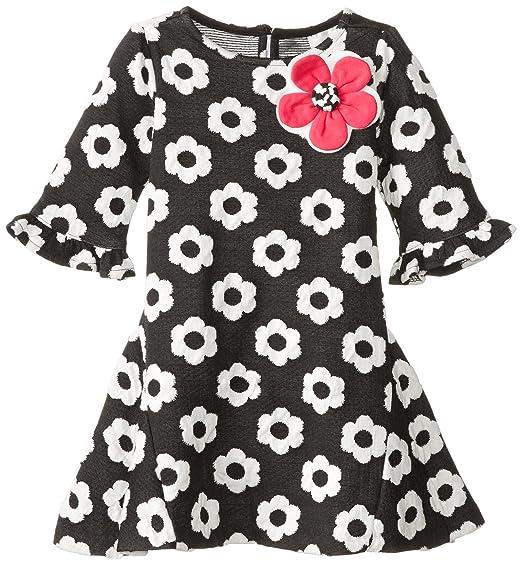 Rare Editions Little Girls' Flower Textured Knit Dress, Black/White, 6X