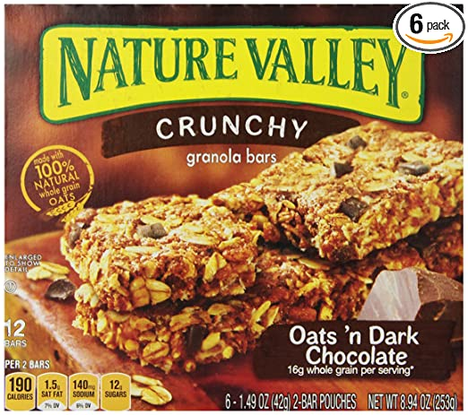 Nature Valley Crunchy Granola Bars, Oats and Dark Chocolate, 6 - 1.49 Ounce 2-Bar Pouches (Pack of 6)