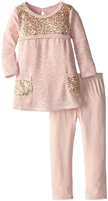 Bonnie Jean Little Girls' Sequin Mesh Trimed Knit Legging Set, Pink, 2T