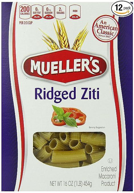 Mueller's Ridged Ziti Pasta, 16-Ounce (Pack of 12)