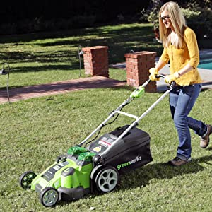 GreenWorks 25302 Twin Force G-MAX 40V Li-Ion 20-Inch Cordless Lawn Mowers with 2 Batteries and a Charger revuew