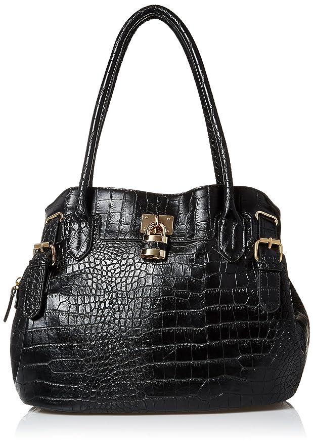 DEL MANO Multi Compartment Satchel Bag, Black, One Size