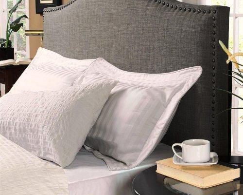 Modern Arch Upholstered Padded Gray Linen Fabric Headboard