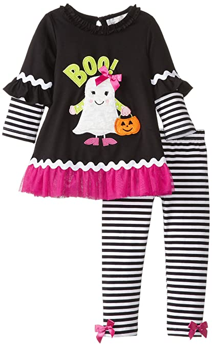 Rare Editions Little Girls' Ghost Applique Ruffle Trim Set