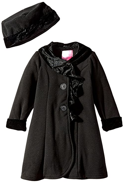Good Lad Little Girls' Animal Ruffle Trimmed Fleece Coat, Black, 4