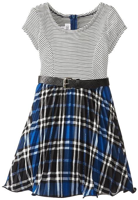 Bonnie Jean Little Girls' Stripe Knit To Royal Plaid Dress, Royal, 6X