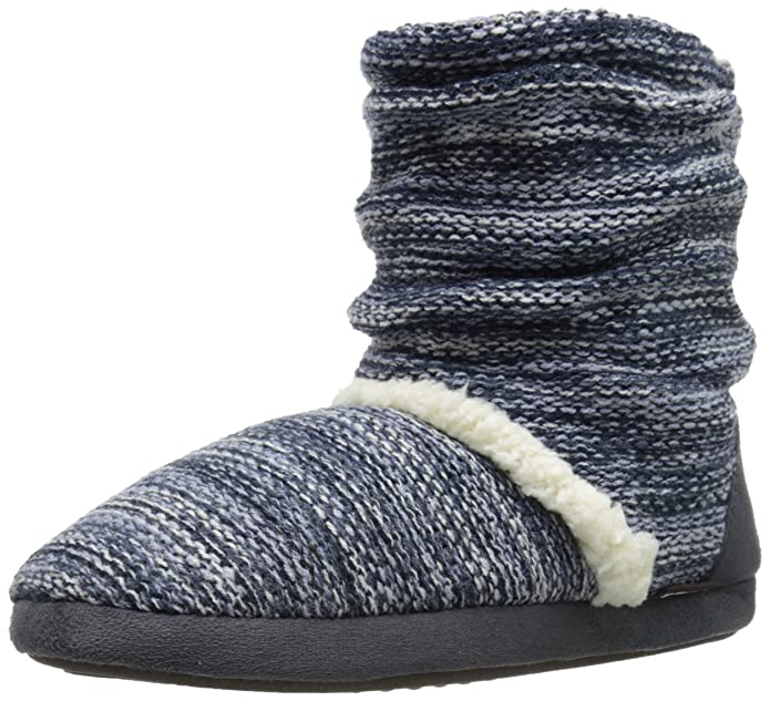 Muk Luks Women's Scrunch B Side Marl Slouch Boot, Blue, Medium/7-8 M US