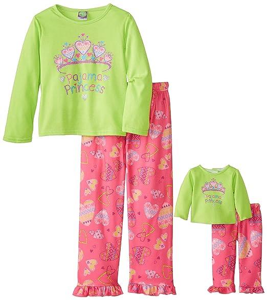 Dollie & Me Big Girls' Pajama Princess Pant Set, Green/Multi, 4