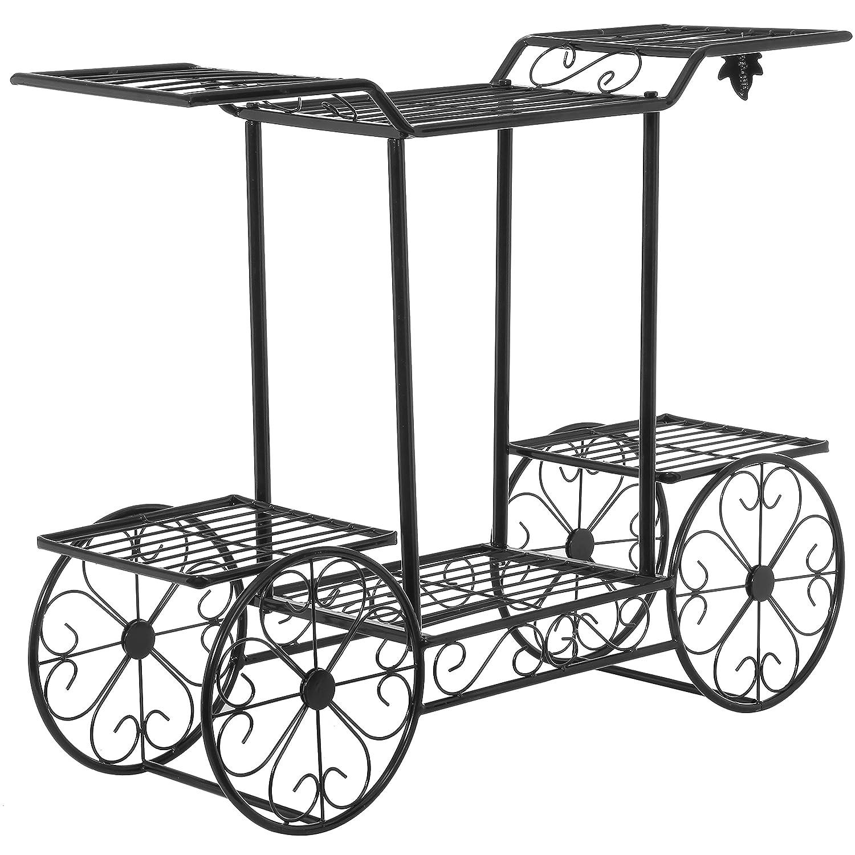 Elegant Cart Design 6 Tier Black Metal Planter Flower Pot