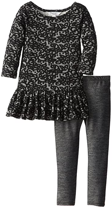 Pippa & Julie Little Girls' Lace Dropped Waist Play Set, Black/Grey, 4