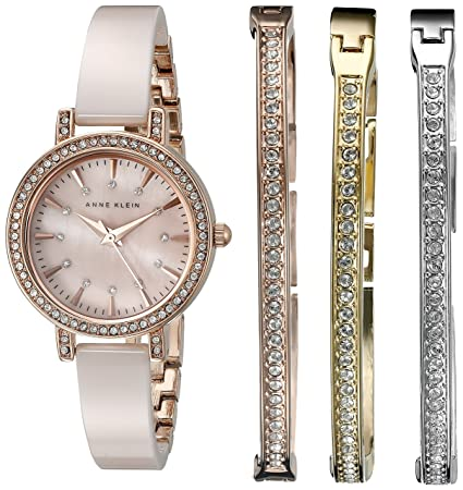 Anne Klein Women's AK/2180BLST Swarovski Crystal Accented Rose Gold-Tone and Blush Pink Ceramic Bangle Watch and Bracelet Set