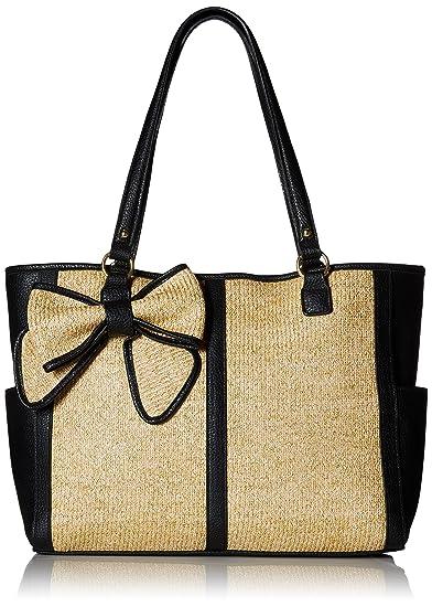 Jessica Simpson Scarlett EW Tote Bag, Natural Straw/Black, One Size