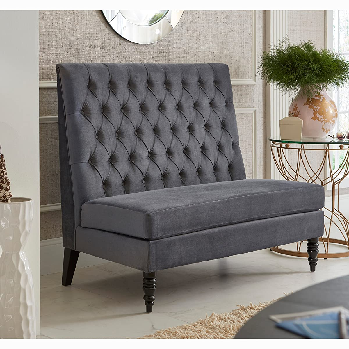Sofaweb Silver Grey Velvet Tufted Upholstered Banquette Bench