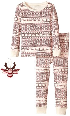burts bees little boys fair isle bee pajama set with ornament ivory