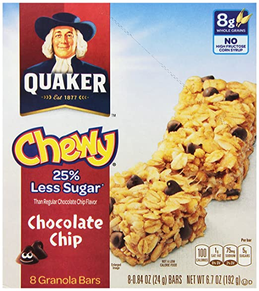 Quaker Chewy Chocolate Chip Granola Bars Reduced Sugar, 8 Count
